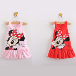 Wholesale Summer Sweet Mini Dress - Girl Minnie Camisole dress 2015 new princess party sweet tutu dance vest bowknot dress 2 Color B001