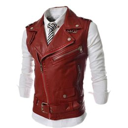 Wholesale Motorcycle Tank Decorations - Wholesale- Men's Fashion PU Leather Vest Jackets Man Sleeveless Motorcycle Tank Tops Spring Autumn zipper decoration Outerwear Coats