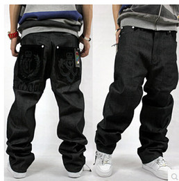 Wholesale Long Boarding - Free shipping men new HIPHOP jeans embroidery loose board long jeans 239