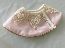 Wholesale Crochet Round Cloths - Newborn bibs infant lace crochet donuts 360 degree round bandana towel baby girls lace embroidery princess capes baby burp cloths R1632