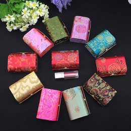 Wholesale Decorative Birthday Gift Boxes - Groom and Bride Mirror Small Candy Gift Box Birthday Party Wedding Favor Boxes Satin Fabric Decorative Chocolate Packaging Case 12pcs lot