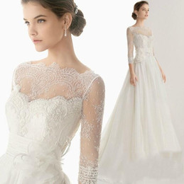 Wholesale Dress Lace Elbow Sleeve - Illusion Length Sleeves Wedding Dresses 2017 with Elbow Bateau Neckline Bridal Gowns Ruffled Lace A-Line Wedding Gowns