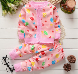 Wholesale Long Sleeve Cardigans Wholesale - Winter kids girls boys cardigan sweater +pants set 2 pieces,kids long sleeve clothes suit winter warm clothing 4s l