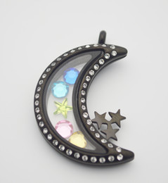 Wholesale Stainless Steel Memory Lockets - Hot Sell Stainless Steel CZ Black Moon and Star Glass Memory Locket Charm Moon Shaped Magnetic Glass Floating Locket With Crystal
