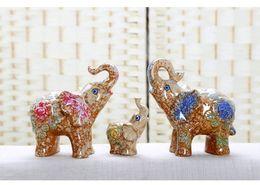 Wholesale Three Elephants Umbrellas - European ceramic animal wealth fortune elephant decoration family of three creative home birthday gift display auspicious happy family fun