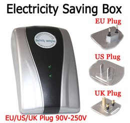Wholesale Electricity Saving Box Eu Plug - 2015 New Type Power Saver Electricity Saving Box Energy Save Electricity Bill device 90V-250V EU US UK Three specifications Plug