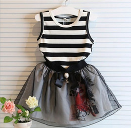 Wholesale Skirts Tanks Bows - Sleeveless Striped Butterfly Gauze Bow Tutu Lace Yarn Children Girls Tank Tops Tshirts Skirts Sets Kids Skirt Outfit 50sets EMS DHL I3399