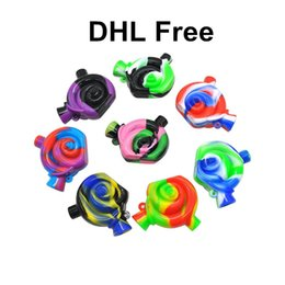 Wholesale Mini Water Filters - DHL Free Novelty Snail Design Mini Silicone Snail Filter for Tobacco Smoke Small Travel Water Pipe Silicone blunt Bong Joint bubbler
