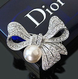 Wholesale Large Pearl Bows - 2 Inch Silver Plated Stylish Design Large Bow Brooch with Clear Rhinestones Crystal and Ivory Pearl