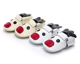 Wholesale Fancy Slips - HONGTEYA New Christmas reindeer baby moccasin shoes Fancy unique toddler baby shoes newborn First Walker boot soft soled