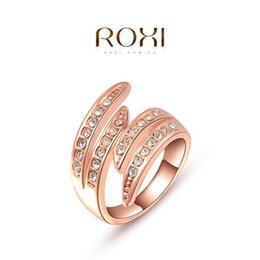 Wholesale Cluster Engagement Ring Rose Gold - Fashion New Austrian Crystal Zircon Angel wings Ring Wedding Engagement Ring Full Size Real 24K Rose Gold Filled Fashion Jewelry A044