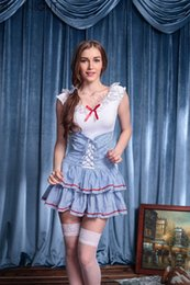 Wholesale Cute French Maid Costume - w1023 Japanese Anime Cosplay Costume Women Lolita French Maid Costume Apron Dress Maid Outfit Servant Costume Cute Uniform