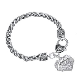 Wholesale gymnastics charm bracelet - Top Quality Zinc Alloy Rhodium Plated Single-Sided Heart Pendant Letter GYMNASTICS Crystal Woman Bracelets
