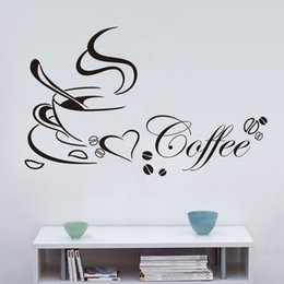 Wholesale Vinyl Wall Quotes For Kitchen - Coffee cup with heart vinyl quote Restaurant Kitchen removable wall Stickers DIY home decor wall art MURAL Drop Shipping