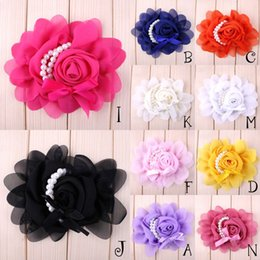 Wholesale Stock Flowers For Headbands - (30pcs  Lot )10 Colors New Stock Chiffon Rose Pearl Flower For Infant Children Hair Accessories Candy Color Flower For Hair Band