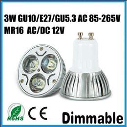 Wholesale Led Mr16 Dc 3w - DHL Free 3W GU10 E27 GU5.3 SPOTLIGHT AC 85~265V MR16 AC DC 12V White Warm white LED Bulb Light Spot Light LED Light Lamp