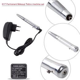 Wholesale Machine Make Up - K17 New Permanent Makeup Tattoo Eyebrow Pen Machine Set Make up Kits Silver