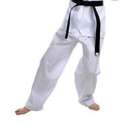 Wholesale Dobok Taekwondo - Wholesale-white stripe fabric Taekwondo long Pants karate Dobok TKD Clothes Trousers [Maria's store]New arrival