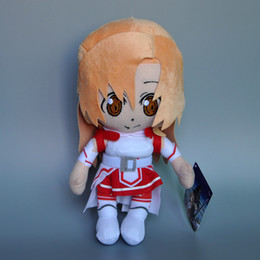 Wholesale Kirito Asuna Swords - Free Shipping 1PCS SAO Sword Art Online Asuna Kirito Kazuto Stuffed Plush Toys Dolls New 11.5""
