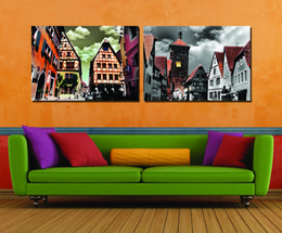 Wholesale Oil Painting Goddess - 2 Pieces Free shipping Home decoration Paint on Canvas Prints Eiffel Tower tram Double deck bus Liberty goddess Pisa Times Square town house