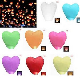 Wholesale Heart Shaped Sky Lantern Wholesale - New Arrive Heart-shaped Chinese Flying Sky Lanterns wishing lamp for wedding etc