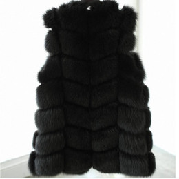 Wholesale Woman Plus Size Vests - Wholesale-2015 White Black Winter Women Knitted Rabbit & Fox Fur Vest Plus Size Real Natural Rabbit Fur Coat Jackets Long Colete