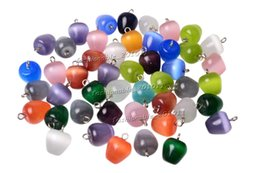 Wholesale Mix Cat Eye Pendant - 2016 Wholesale Lots Jewelry Apple Cat eye gemstone mixed Pendants Loose Beads Fit Bracelets and Necklace Charms DIY Bead0163y