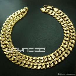 Wholesale Engagement Rings Mens 18k - 18k yellow gold GF mens womens solid chain Necklace w  curb ring link N222