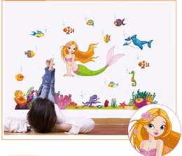 wall stickers mermaids Coupons - 60*90cm Mermaid Cartoon Wall stickers home decor removable pvc Kids Room Decal wall art decals Wallpaper Halloween Christmas gift