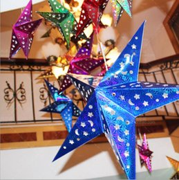 Wholesale Christmas Star Lampshade - 30CM-110CM Handmade Christmas Decor Paper Charms Pendants Laser Star Chandelier Lampshade Birthday Party Home Hotel Decorations Ornament