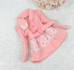 Wholesale Double Breasted Lace Coat - Wholesale-Autumn spring Kids Coat Outwear Girl Lace Cotton Double-breasted Dust Coat Children Outerwear