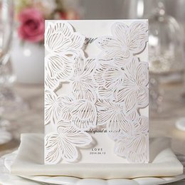 Wholesale Lavender Flower Wedding Invitations - Wedding Invitations Gold Paper Free Printing Laser Cutting Wedding Invitation Flowers Hollow Wedding Cards Free Shipping In Stock ZYY