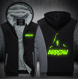 Wholesale Mens Zip Up Hoodie Black - 2017 new Green Arrow Oliver Queen Hoodies luminous Mens Casual Fleece Winter Thick Zip up Cotton Super hero Warm Sweatshirts