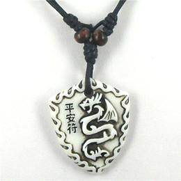 Wholesale Dragon Totem - Tibetan white Yak bone carving Dragon totem pendant supporter talismans necklace Jewelry free shipping