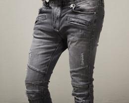 Wholesale Men Hiphop Jeans - 2016 Men slim jeans men's Distressed Biker jeans hiphop pants male pencil pants Washed grey jeans for men free shipping ZJ1403