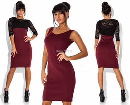 Wholesale Hot Sale New Sexy - New 2016 Plus Size Women spring and summer Dress Ladies High Quality Elegant Bodycon sexy lace o neck Women Dress hot sale