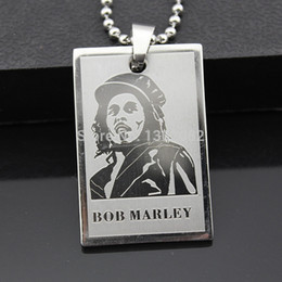 Wholesale Dog Cooler - Cool Boy Men's Reggae Singer Bob Marley Pendant Stainless Steel Dog Tag Chain Necklace Gift MN292