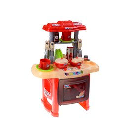 Wholesale Pretend Play Kitchens - Wholesale- Baby Kitchen Cooking Simulation Model Happy Kitchen Pretend Play Toys Kids Kitchen Toys Cooking Toys Tableware Sets