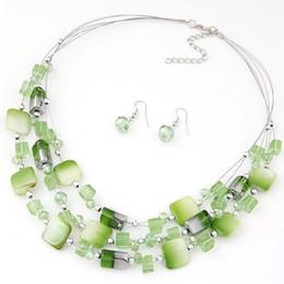 Wholesale Earing Set Crystal - 2015 Hot Bohemina bijoux Earing and Necklace Sets Women Crystal Beads Jewelry Sets Fashion Women jewelry set