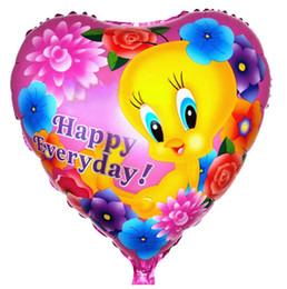 Wholesale Bird Balloons - Happy everyday Foil Balloons 18inch Lovely bird Birthday party decorations Aluminum balloon 50pcs lot free shipping