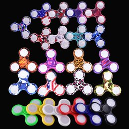 Wholesale Rainbow Years - EDC Rainbow Fidget Spinner LED Fidget Tri Spinners Toys 3 Modes Luminous Light Hand Spinner with Switch ON OFF by DHL OTH384