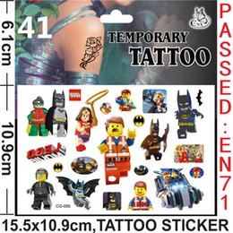 Wholesale Cartoon Waist - LEGO Tattoos Stickers LEGO Temporary Tattoos LEGO Body Tattoos Kids Cartoon Tattoos size:15.5cmx10.9cm H0201