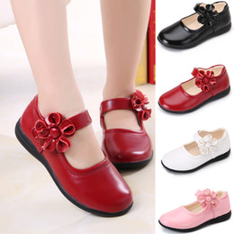 Wholesale Wedding Children Shoe - Red white Flowers Children Girls Leather Student Shoes Kids Party Christmas Birthday Wedding For Girls Baby Round Toe Dance Princess Shoes
