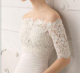 Wholesale Classic Lace Bolero - 2015 New Custom Made Amazing Bateau Lace Bridal Bolero with Half Long Sleeves Classic Lace Bridal Jacket Wrap Bridal Accessory