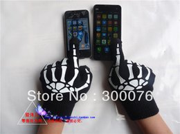 Wholesale Bones Work - Wholesale-Mens Misfit Skeleton Bones Black Work Gloves ant-slip knit glove