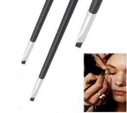 Wholesale Professional Colours - Good Quality Elite Angled Make Up Professional Eyebrow Brushes Brown Handle Eyeliner Brow Make Up Tool Colour Makeup Brush Wholesale