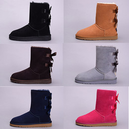 Wholesale Mid Calf Boots - 2017 High Quality WGG boot Women Australia Classic kneel Ankle Boots Black Grey chestnut blue girl lady tall Winter Snow shoes US 5--10