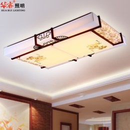 Wholesale Ceiling Lights Square Wood - neoclassical rectangle square LED chinese style carved boutique wooden sheepskin lighting solid wood vitange rustic flush mount ceiling lamp