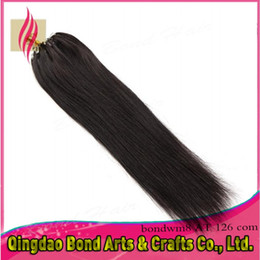 Wholesale 16 Inch Ring - Silky Straight 100s 16-26 Inches Malaysian Remy Micro Ring Loop extension 100% Virgin Human Hair Extensions natural black can be dyed 50g