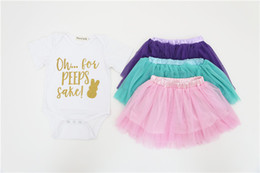Wholesale Toddler Skirt Suit - Summer Girls Outfits 2018 New Cartoon Romper Toddler Clothing Sets Cute Letter Printed Jumpsuit + Tulle Skirt 2pcs Suits C2669
